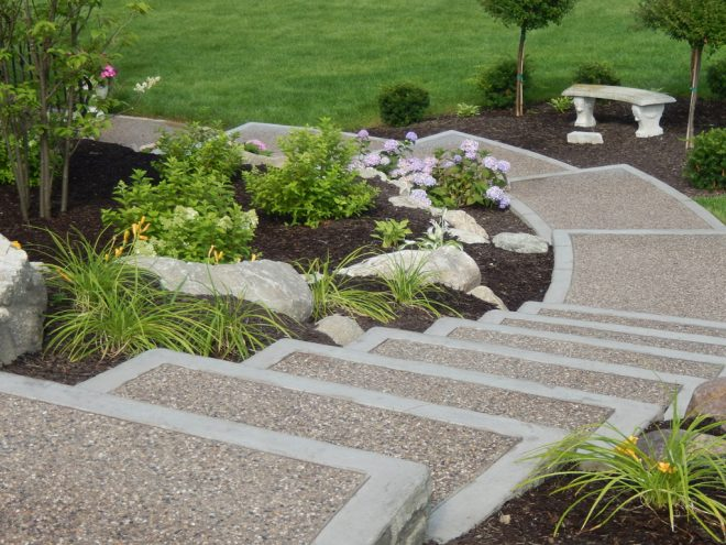 exposed aggregate cement steps shelby township